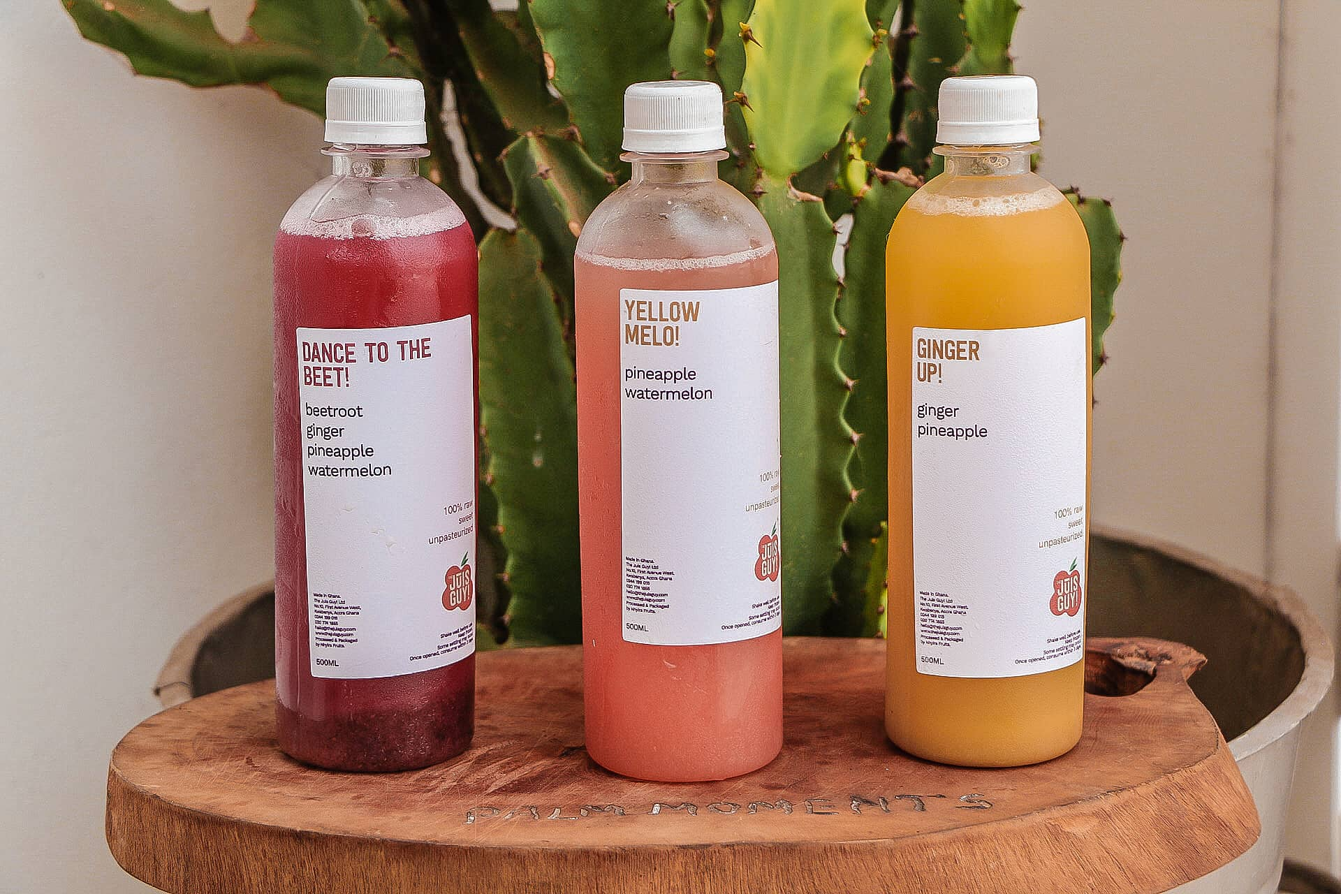 A colourful array of juice bottles