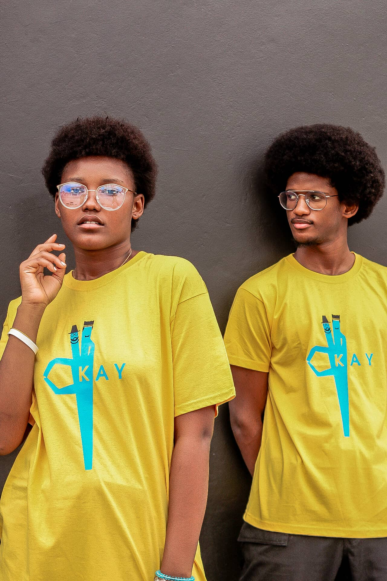 Yellow T-shirt with okay in front